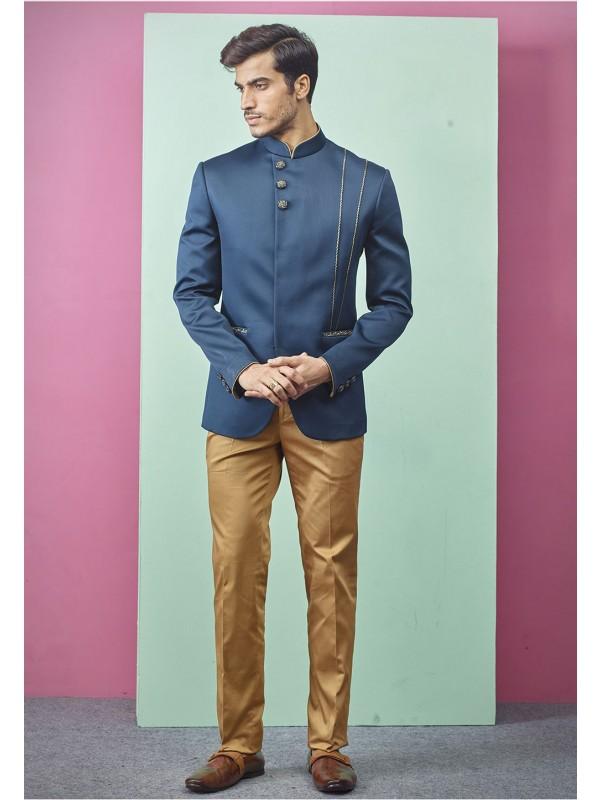 Indian Men's Designer Jodhpuri Suit Blue Colour.