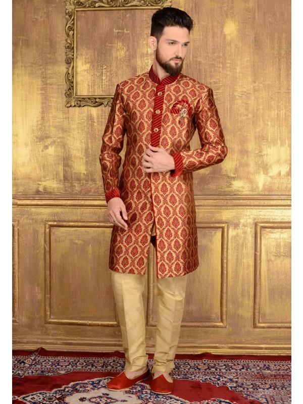 Exquisite Chinese Collar Men's Maroon Color Readymade Kurta Pajama.