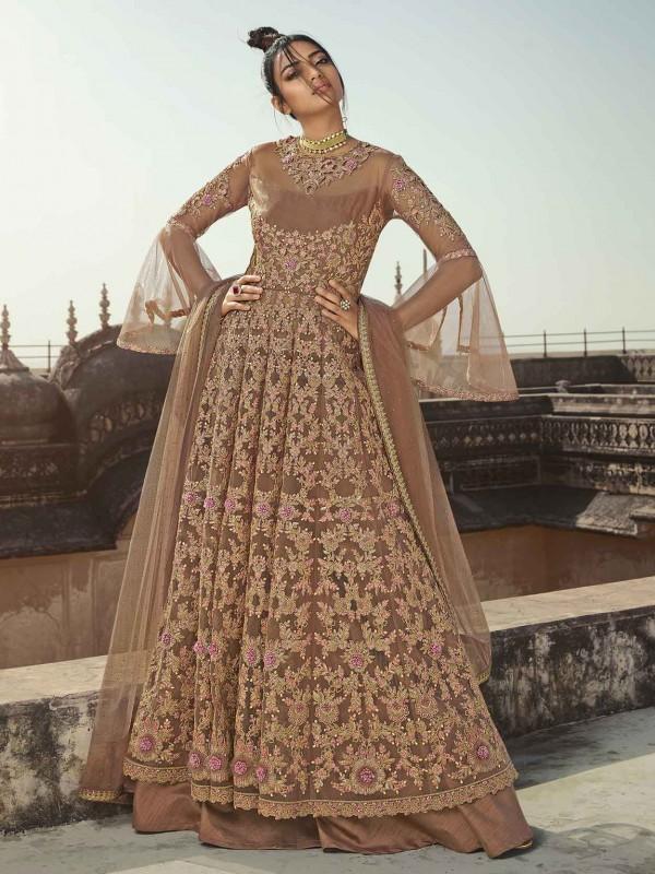Beige in Net,Satin Designer Anarkali Salwar Suit.