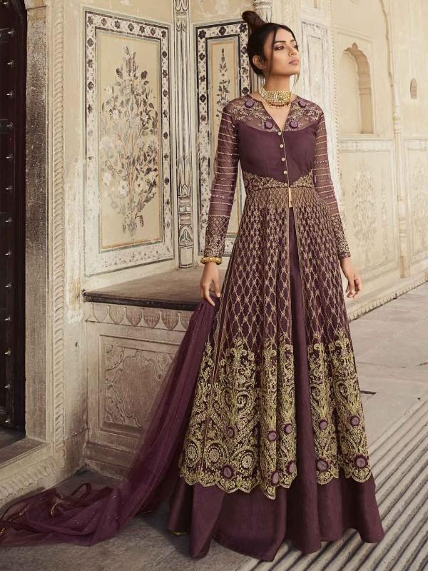 Net,Satin Designer Salwar Suit In Wine Colour.