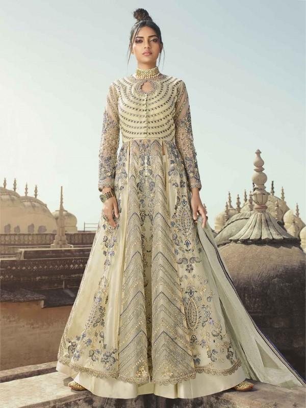 Cream,Light Grey Colour Anarkali Salwar Suit in Net,Satin Fabric.