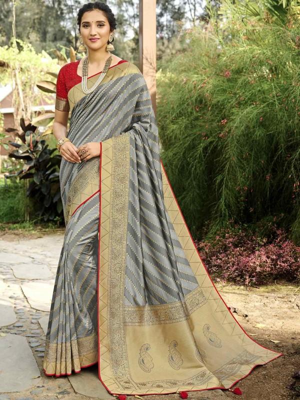 Grey Colour Silk Women Sari.