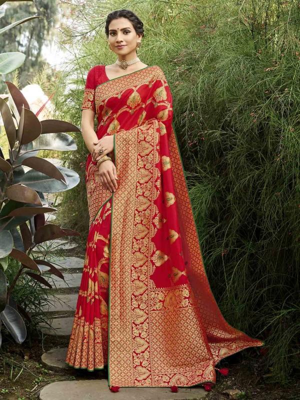 Silk Indian Designer Saree in Red Colour.