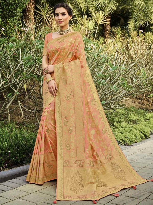 Peach Colour Silk Wedding Saree.