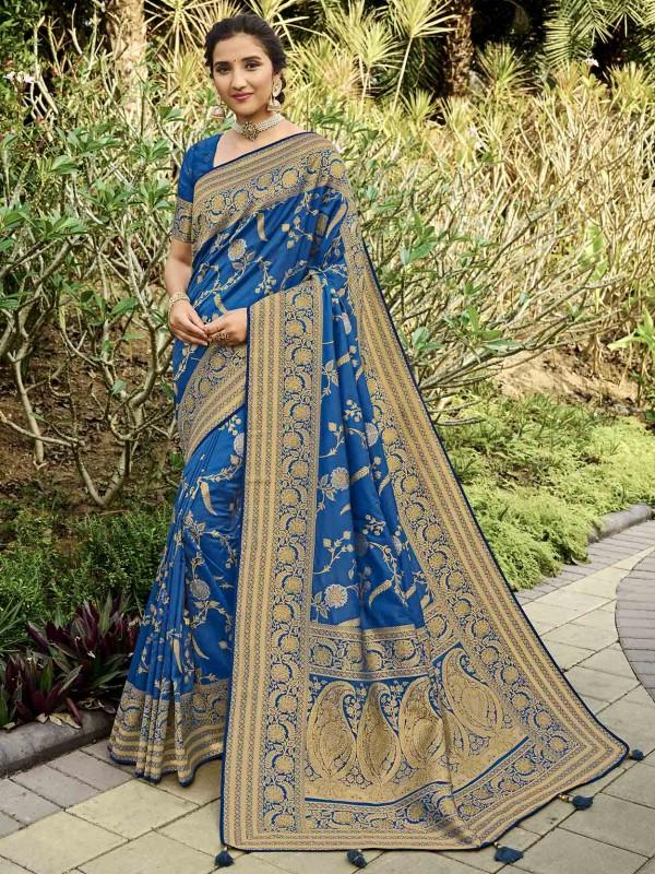 Blue Colour Silk Women Saree With Weaving Work.