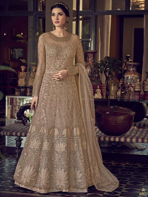 Rust,Brown Colour Net Anarkali Salwar Kameez.