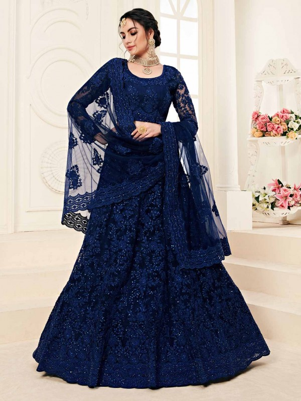 Fantastic Royal Blue Colour Net Women Lehenga Choli.