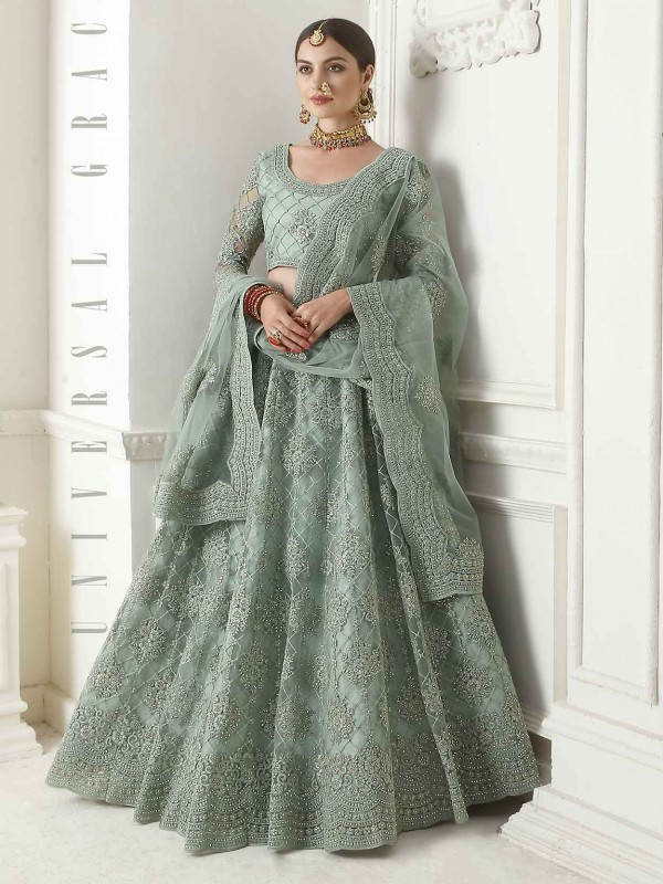 Turquoise Colour Net Designer Women Lehenga.