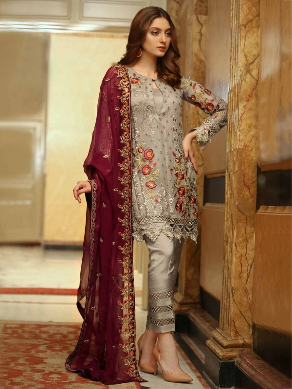 Grey,Brown Colour Georgette Designer Salwar Suit.