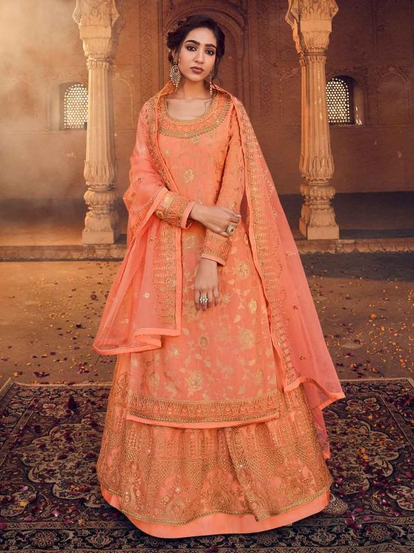 Orange Colour Jacquard,Net Fabric Anarkali Lehenga Style Salwar Suit.