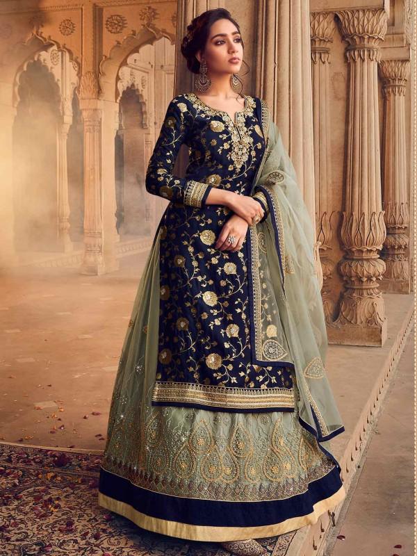 Blue Colour Jacquard,Net Fabric Lehenga Style Salwar Suit.