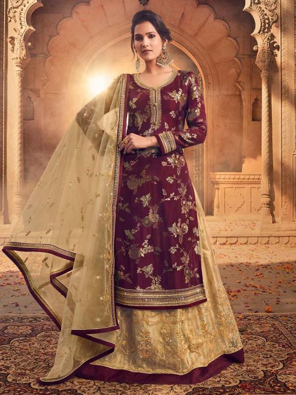 Designer Lehenga Style Salwar Suit Wine,Golden Colour.