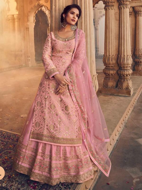 Pink Colour Jacquard,Net Fabric Designer Salwar Suit.