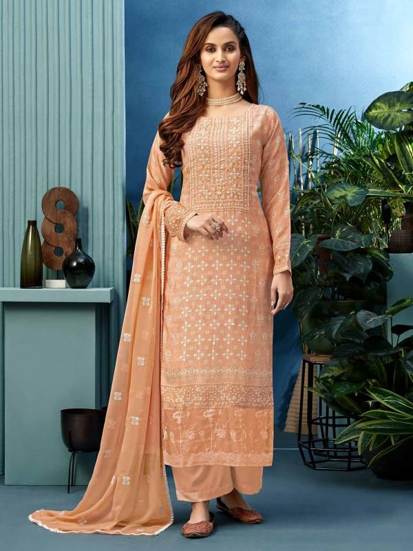 Light Orange Colour Shantoon Fabric Palazzo Salwar Kameez.
