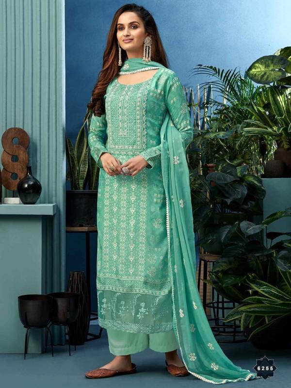 Turquoise Colour Shantoon Fabric Salwar Suit.