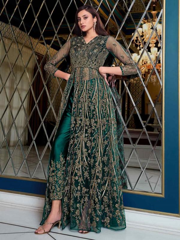 Rama Green Colour Net Fabric Designer Salwar Kameez.