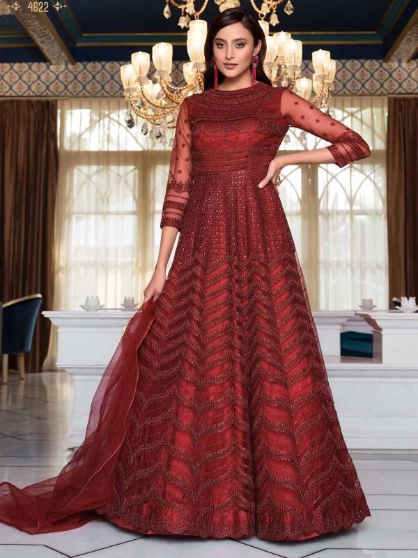 Maroon Colour Net Fabric Designer Anarkali Salwar Kameez.