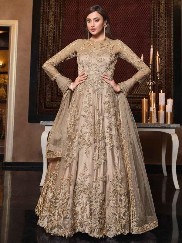 Golden,Beige Colour Net Fabric Anarkali Salwar Kameez.