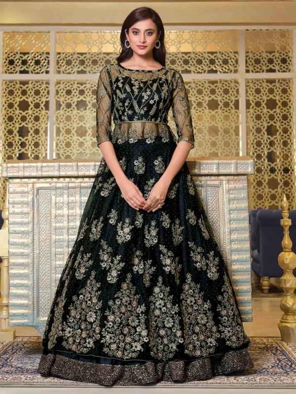 Black Colour Net Fabric Party Wear Salwar Suit.