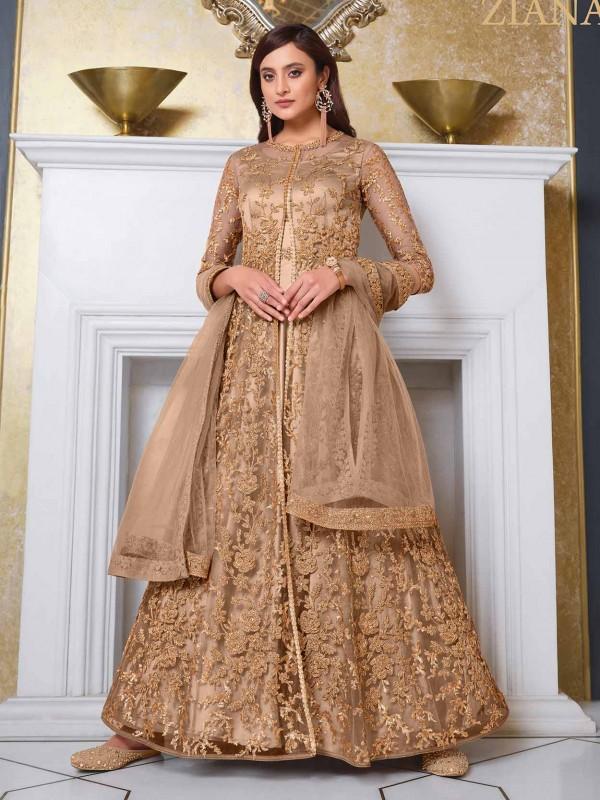 Beige Colour Net Fabric Anarkali Salwar Kameez.