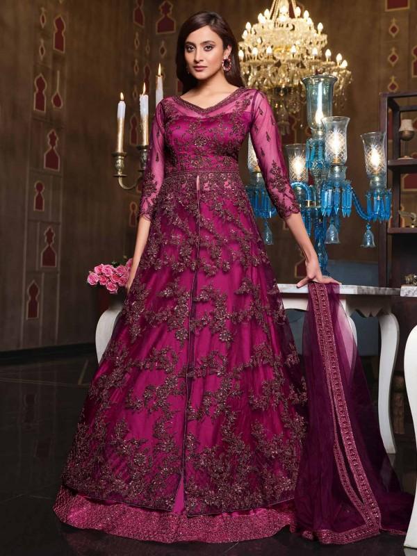 Designer Anarkali Salwar Kameez Pink Colour Net Fabric.