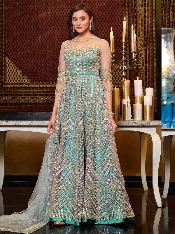 Mint Blue Colour Net Fabric Anarkali Salwar Suit With Sequin,Embroidery Work.
