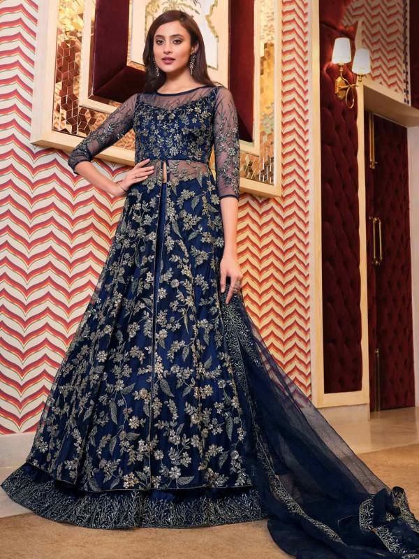 Blue Colour Net Fabric Gown Style Anarkali Salwar Suit.