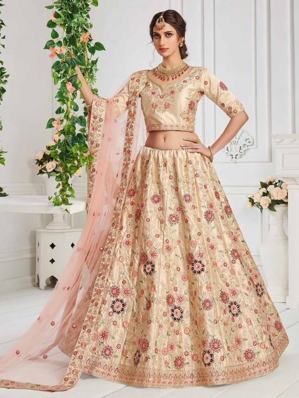 Cream,Golden Colour Wedding Lehenga Choli Silk Fabric.