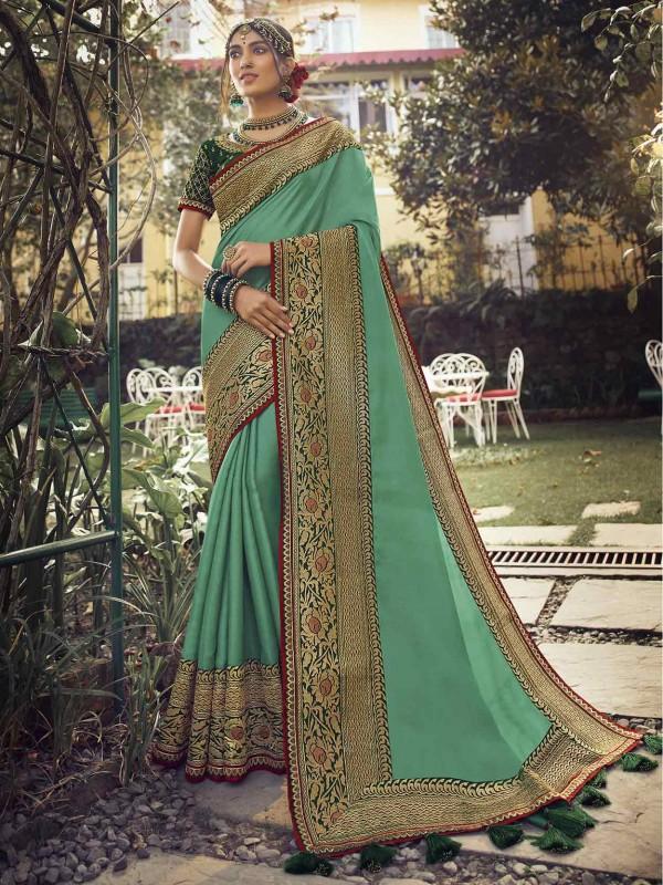 Green Colour Silk Indian Designer Saree.