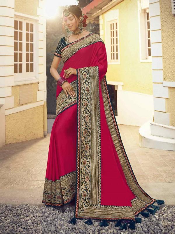 Red Colour Designer Bridal Saree in Silk Fabric.