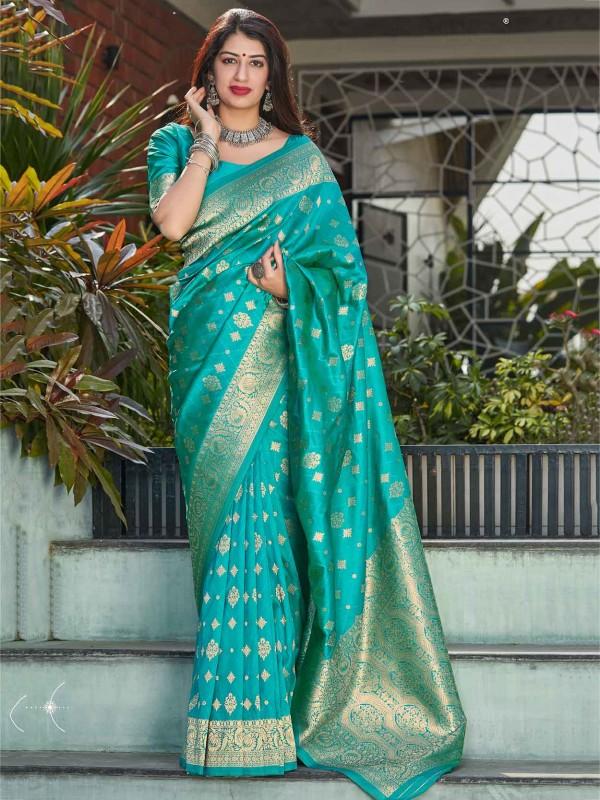 Turquoise Colour Banarasi Silk Fabric Weaving Saree.