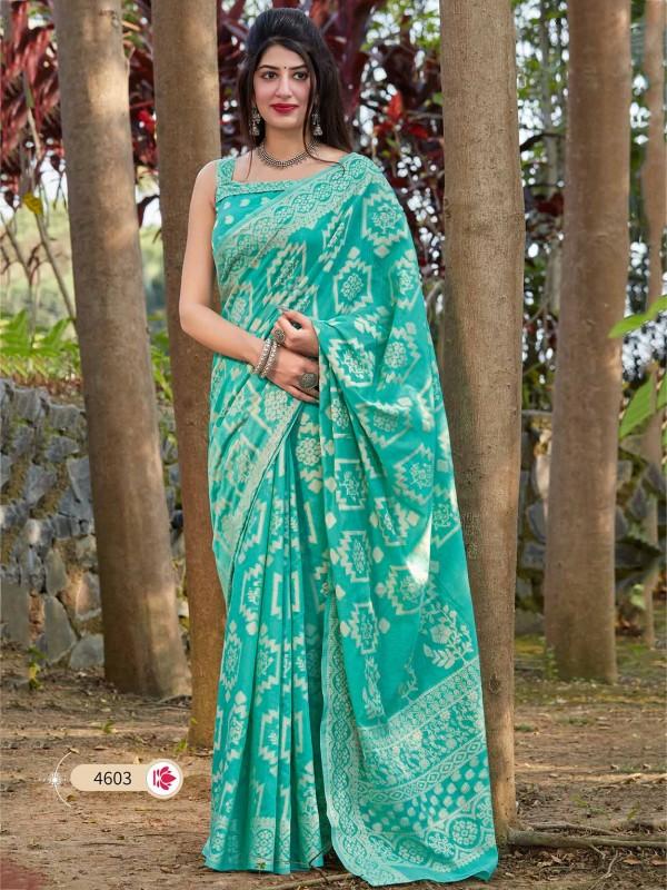 Turquoise Colour Cotton,Silk Saree.