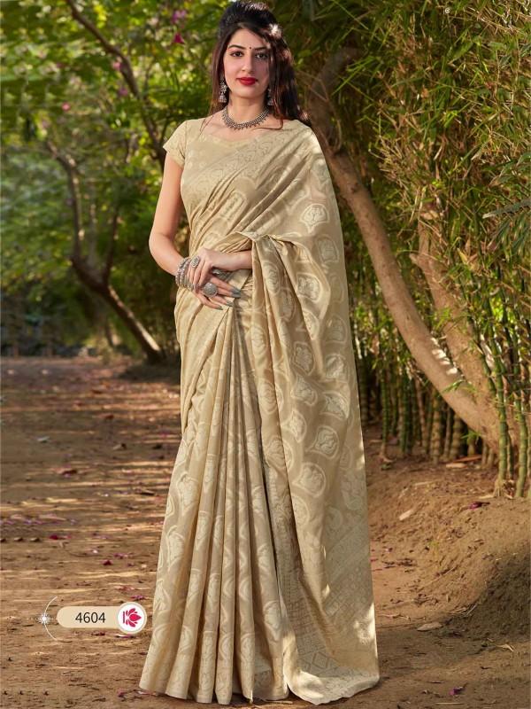 Beige Colour Cotton,Silk Designer Saree.
