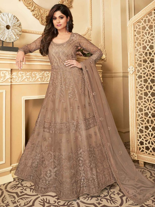 Brown Colour Silk,Net Fabric AnarkalI Salwar Kameez.
