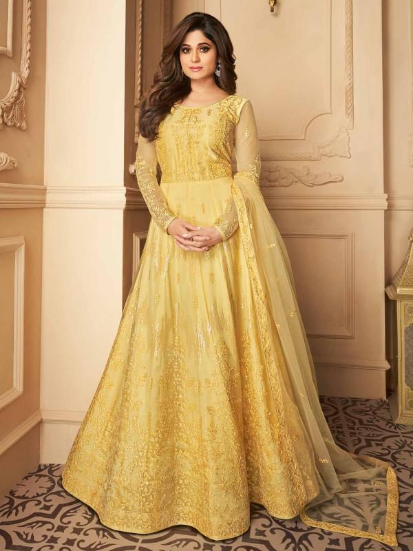Yellow Colour Silk,Net Fabric Designer Bollywood Salwar Suit.