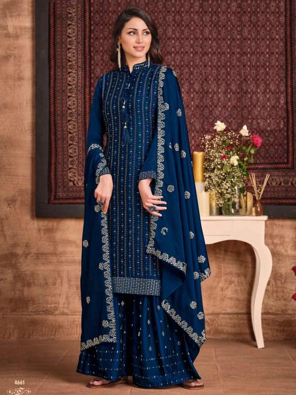 Blue Colour Silk,Georgette Fabric Designer Sharara Suit.