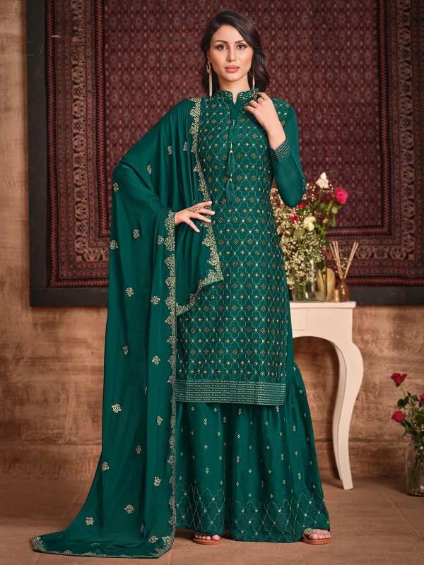 Silk,Georgette Fabric Sharara Salwar Suit Green Colour.