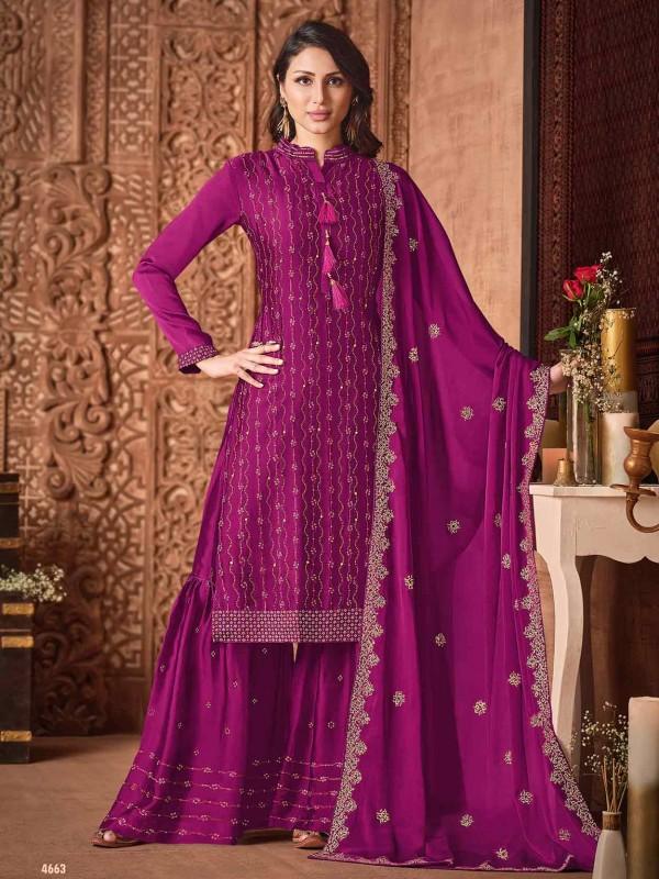 Purple Colour Silk,Georgette Fabric Party Wear Salwar Suit.