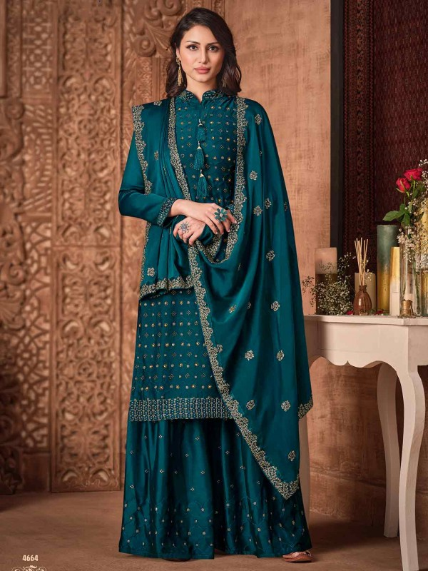 Silk,Georgette Fabric Designer Sharara Salwar Kameez Green Colour.
