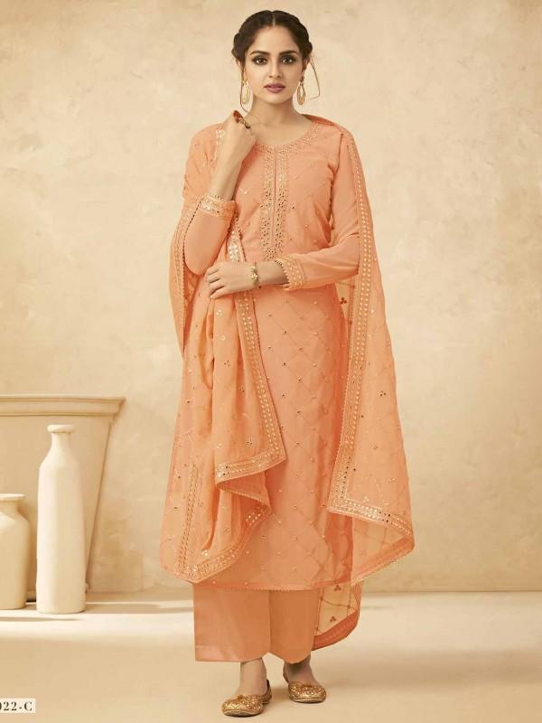Orange Colour Georgette Salwar Kameez.