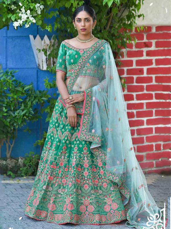 Light Green Colour Velvet Designer Lehenga Choli.