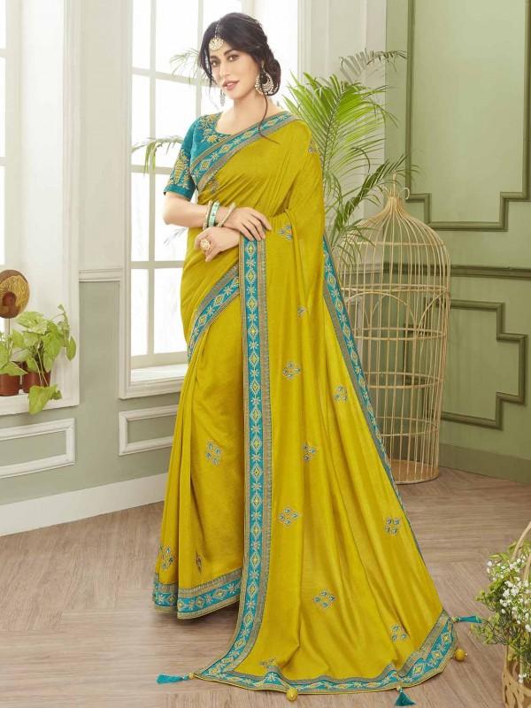 Green Colour Fancy Fabric Indian Designer Saree.