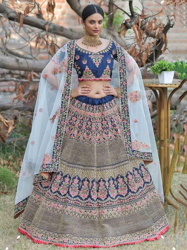Navy Blue Colour Silk Fabric Indian Designer Lehenga Choli.
