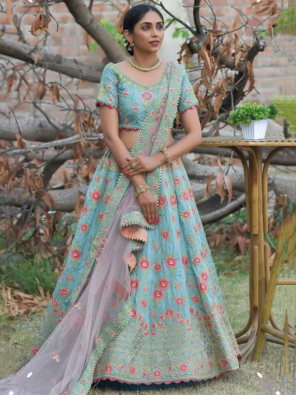 Turquoise Colour Silk Lehenga Choli With Zari,Resham Work.