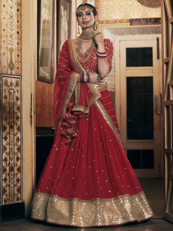 Red Colour Net Fabric Bridesmaid Lehenga Choli.