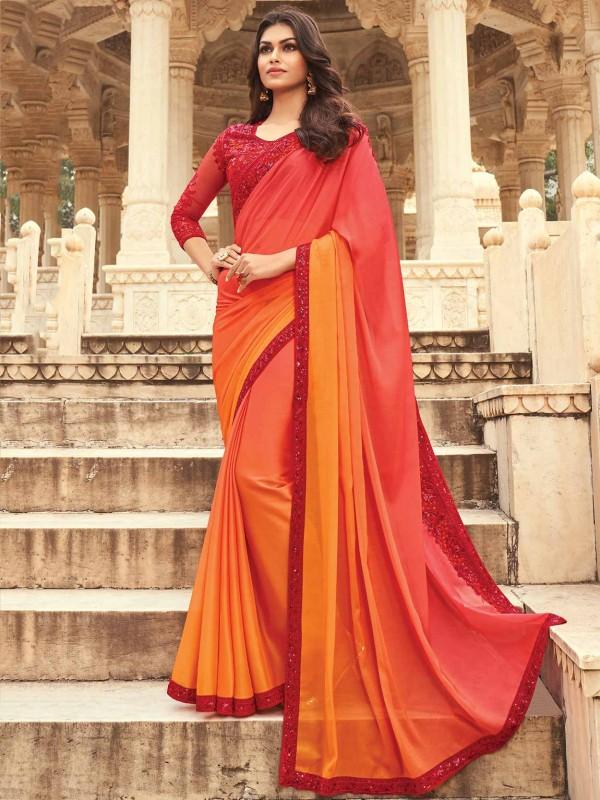 Silk Designer Saree Red,Orange Colour.