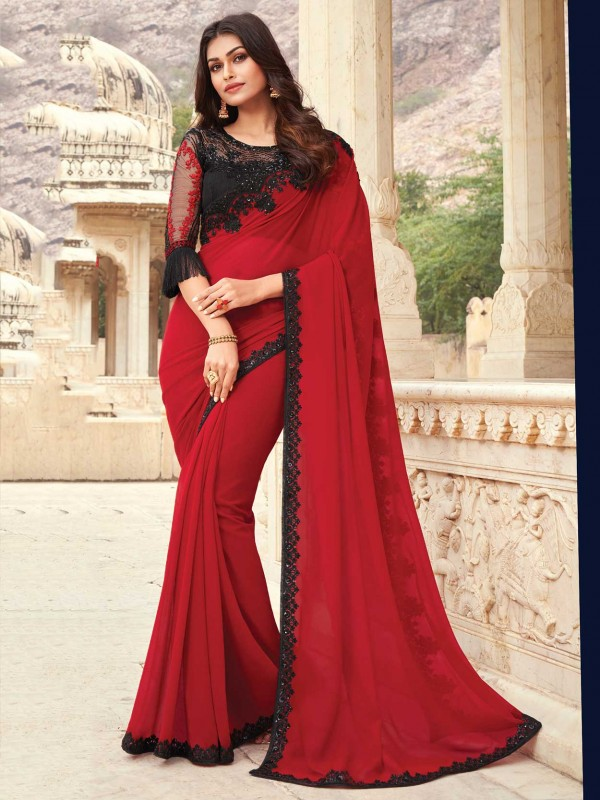 Red Colour Georgette Fabric Indian Wedding Saree.