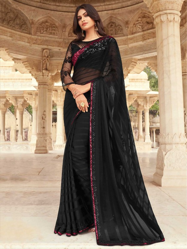 Black Colour Silk Fabric Party Wear Saree.