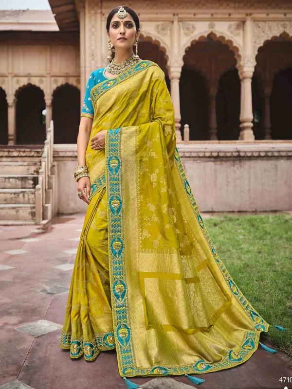 Green,Yellow Colour Silk Designer Saree.