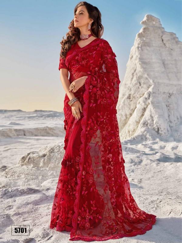 Red Colour Net Fabric Designer Bridal Saree.